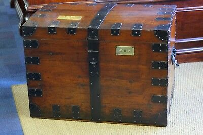 Gorgeous Pine And Metal Bound Silver Chest