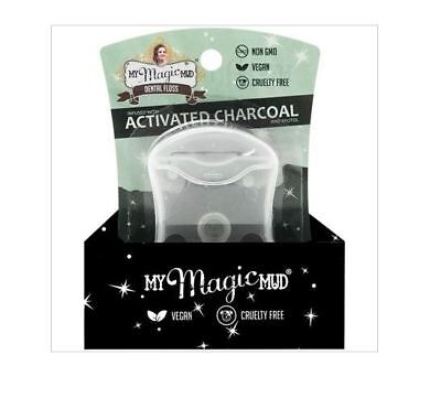 12 x 50m MY MAGIC MUD Activated Charcoal Dental Floss Peppermint