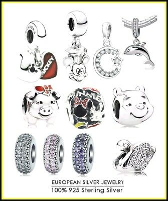 Winnie  Mickey Swan Spacers Inspiration Moon Cheshire Dolphin Charm S925 Silver