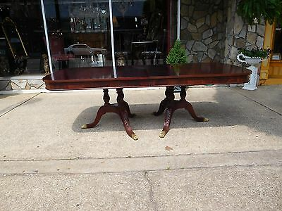 Outstanding Mahogany Acanthus Carved Pedestal Dining Table 20thc
