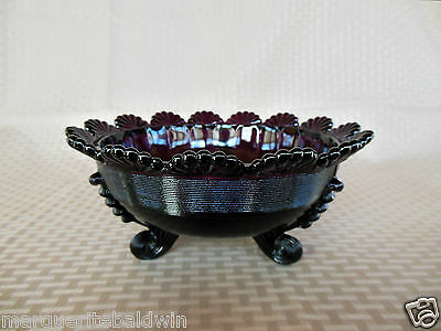 """Mosser Glass Amethyst Footed 8"""" Fruit Bowl"""