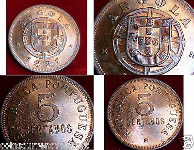 Angola 1921 5 Centavos  - Lovely Toning On this Coin