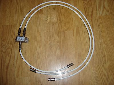 White RG59 CATV Coaxial Cable with 2 Way Technetix Splitter. Virgin Media Ect