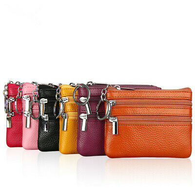 New Ladies Men Genuine Real Leather Small Coin Card Key Ring Wallet Pouch Purse