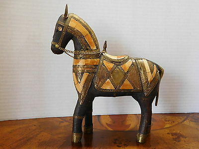 Vintage Antique Hand Carved Wooden Armored Horse With Inlay-- Beautiful