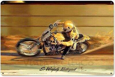 """ So Woefully Underpaid "" Tom Fritz motorcycle art on Metal Sign - P/N: TF053"
