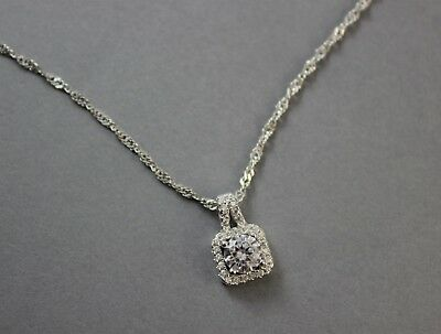 925 Sterling Silver Cubic Zirconia Cluster Square Delicate Necklace UK New 3.05g