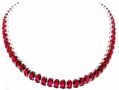 Silver Ruby Oval Cut 87.2ct Full Round Necklace Free Gift Box