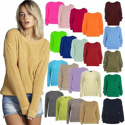 Womens Ladies Casual Basic Cosy Knitted Baggy Jumper Winter Top Plus Size 8-22