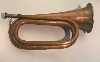 •Antique Military Infantry Copper & Brass Bugle•