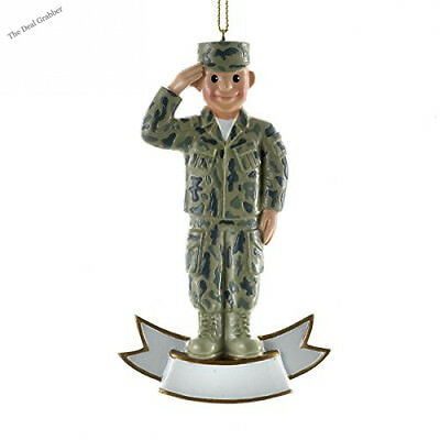 Personalized Ornament MALE ARMY SOLDIER SALUTE Polyresin Patriotic Military...