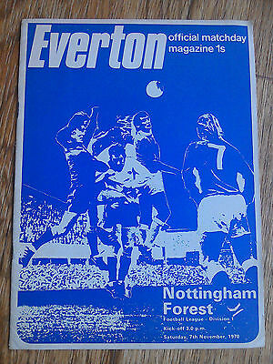 07/11/1970 Everton Vs Nottingham Forest First Division Football Match Programme
