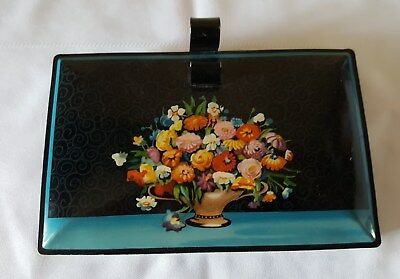 Vintage Hand Painted Decoware Flower's On Black Metal Crumb Box Hinged Lid