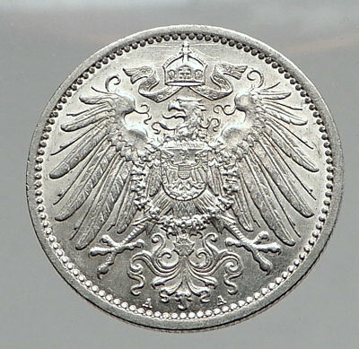 1914 WILHELM II of GERMANY 1 Mark Antique German Empire Silver Coin Eagle i64424