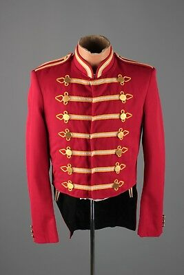 Vtg 1960s 60s Marching Band Red Uniform Jacket sz S 36 Long #3893 Brass Buttons