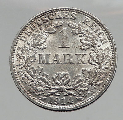 1914 WILHELM II of GERMANY 1 Mark Antique German Empire Silver Coin Eagle i64425