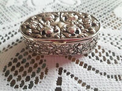 Sterlig Silver Hinged Oval Trinket Box with Repousse  Intricate Designs