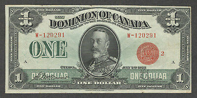 1923 $1.00 DC-25g VF SCARCE King George V RED Seal Dominion of Canada One Dollar