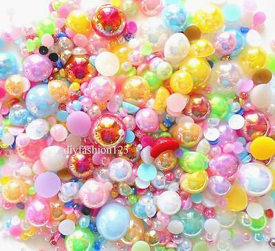 800 Pcs AB Mixed Color Flatback Round Half Faux Pearls Beads DIY Crafts Nail Art