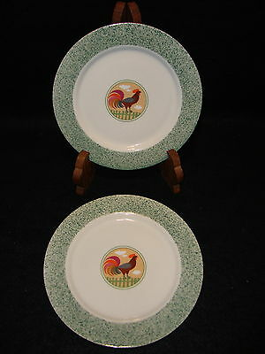 International China COUNTRY INN SALAD / DESSERT PLATES Lot x 2 Rooster Chicken
