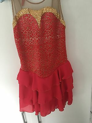 Jerry's Coral Cascade Figure Skating Competition Dress Size Adult Large