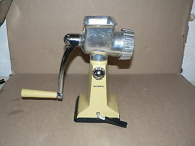 Used Vintage Working Meat Grinder Rival yellow manual