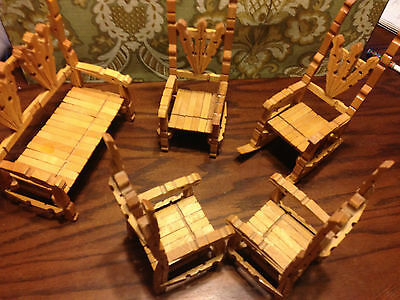 Vintage Wood Clothes Pin Child Toys 5PC Set w/ Rocking Chair Chairs Bench