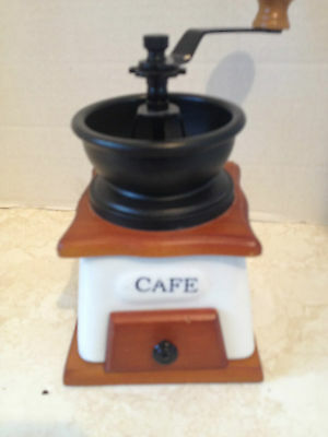 Vintage Wood, Glass Coffee Grinder With Drawer, Blue Windmill Scene