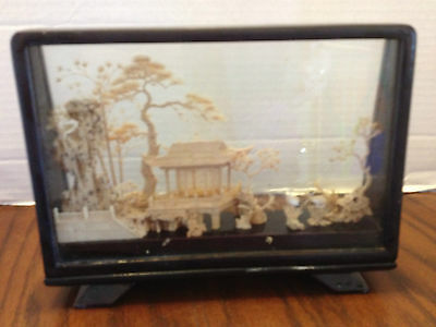 Vintage Chinese Hand Carved Cork Origami Diorama