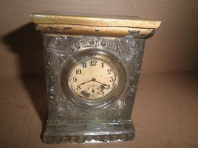 Wonderful old glass Clock shaped Candy Container - Still Bank c.1920's