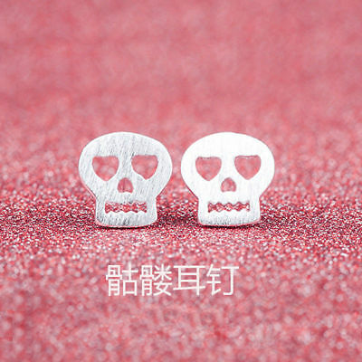 Uk Hollow Scull  Ear Stud Earrings Butterfly Lady Girl 925 Sterling Silver Plt