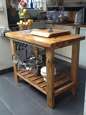 Kitchen Island/Butchers Block With Storage And Rail Handcrafted Farmhouse Rustic