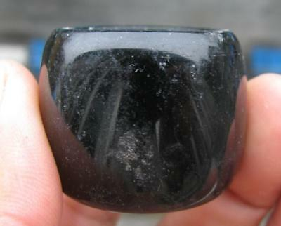 vintage natural black jade hand carved band thumb ring size16 collectable