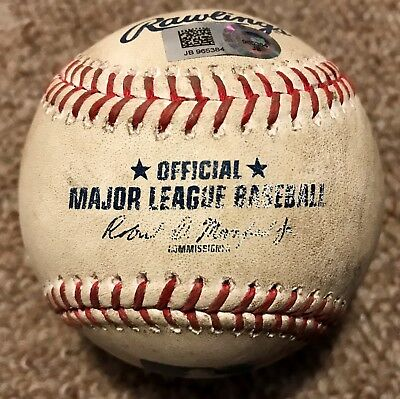 Mookie Betts MLB Holo Game Used Baseball Home Run 2017 Red Sox RECORD HOME RUN