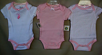 LITTLE ME 100% Cotton Pink & White 3 pack BALLERINA Bodysuits  GIRL 3 MONTHS NWT