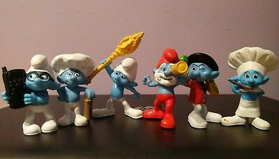 "The Smurfs Mcdonalds 3"" Lot of 6 Figures 2011"