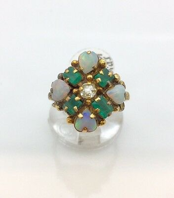Victorian 14k Opal , Emerald And Diamond Ring