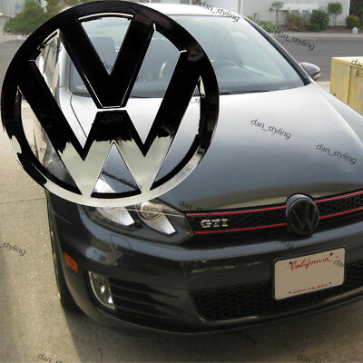 Volkswagen Golf VW Mk7 VII GTI R Front Black Badge Gloss Logo Emblem Grill 135mm