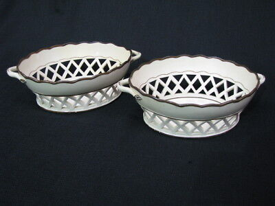 Pair of 18th Century Creamware Chestnut Baskets with Twig Handles