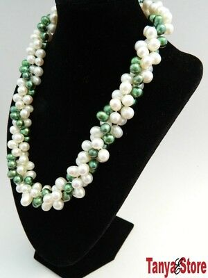 Gorgeous! 3Strd Green And White Freshwater Pear Pearl Necklace