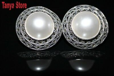 Stunning White Shell Pearl Earrings Marcasite Sterling Silver