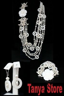 Amazing! 6Strd White Pearls & White Shell Necklace Bracelet Earrings Jewelry Set