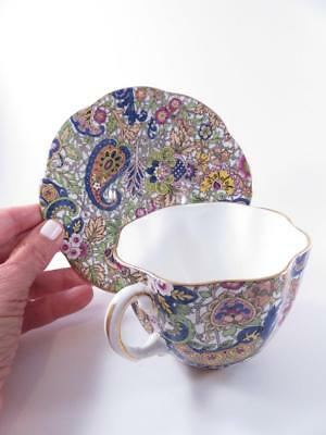 Vintage Clare Bone China Enland Cup And Saucer Chintz Pattern