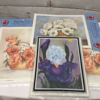 Lot of 4 Paper Tole Kits 3D  Art Flowers Floral Unused and New Vintage