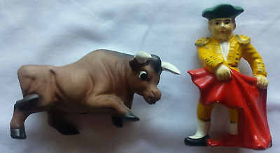 Vintage Rare Salt And Pepper Shakers Bull Fighter And Bull Set Free Shipping @@@