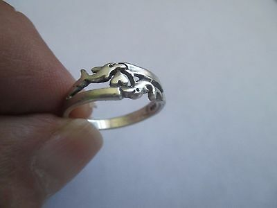 Dolphin Ring...with Heart..small..STERLING SILVER..New...Taxco
