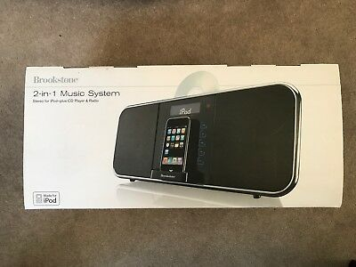 Brookstone 2 In 1 Music System - Ipod Dock, Radio And CD Player BRAND NEW