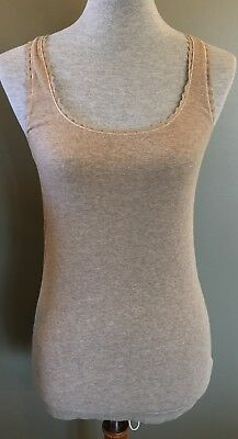American Eagle Outfitters Beige Ribbed Cotton & Lace Tank Sz L EUC