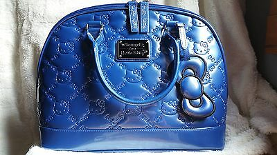 hello kitty loungefly embossed bowler bag blue