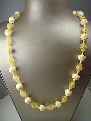 """Sale! Vtg Mid Century 55"""" Knotted Molded Early Plastic Yellow White Necklace"""